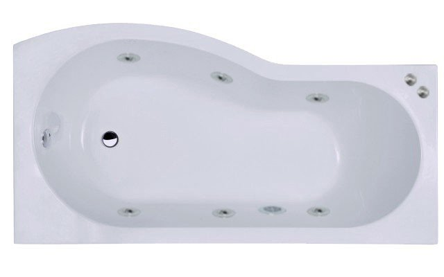 B Shape 6 Jet Chrome V-Tec Whirlpool Shower Bath 1700 mm with Shower Screen and Panel Right Hand