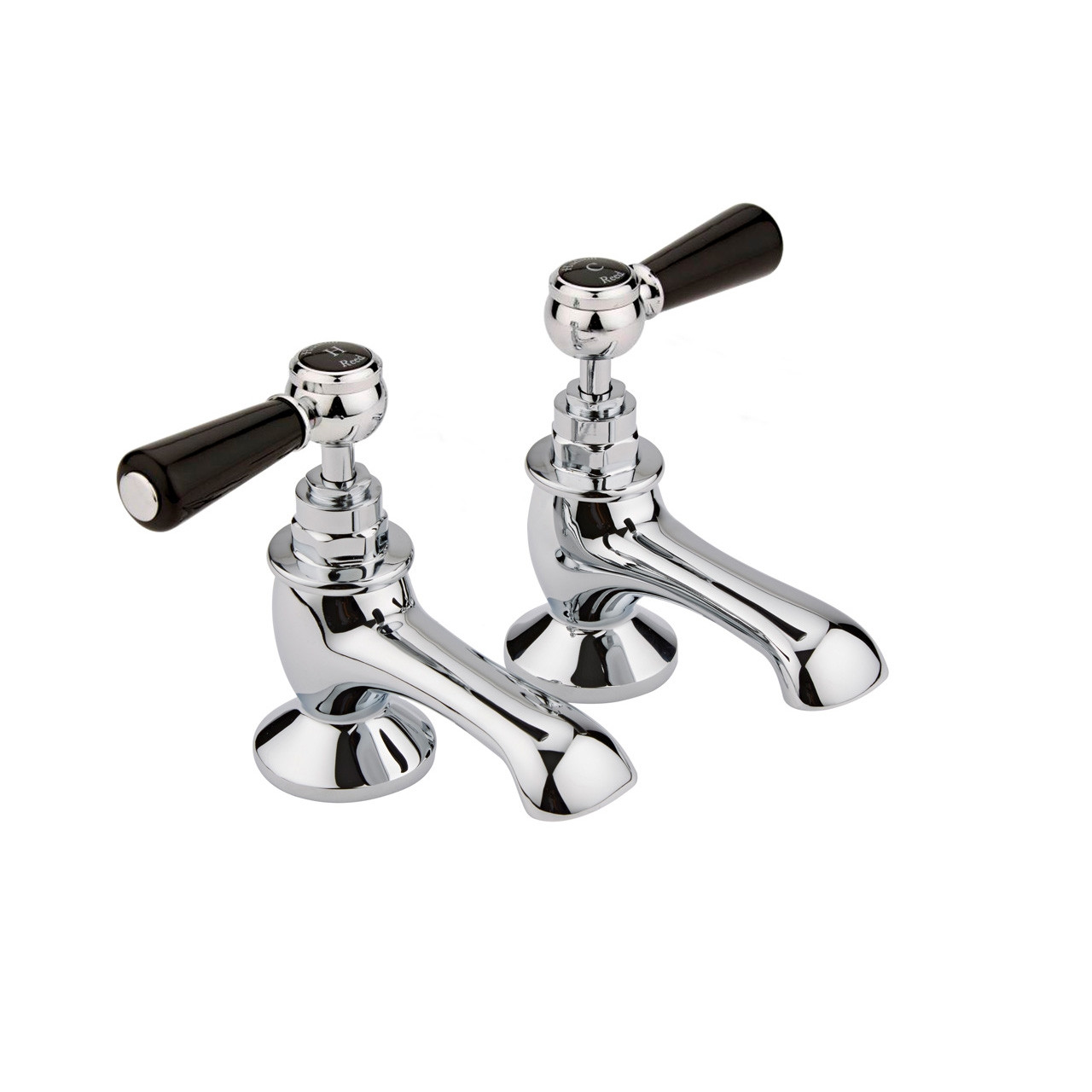 Hudson Reed Topaz Black Lever Bath Taps with Hex Collar - BC402HL
