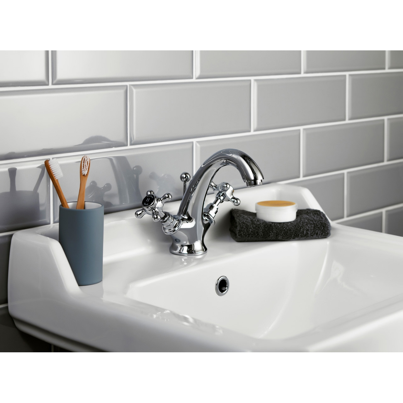 Hudson Reed Topaz Black Crosshead Mono Basin Mixer with Hex Collar - BC405HX