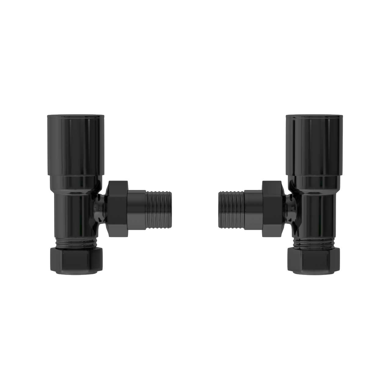Black Nickel Round Angled Radiator Valves