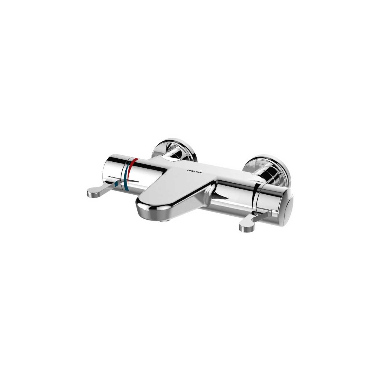 Bristan Opac Chrome Thermostatic Wall Mounted Dual Control Bath Filler Tap with Chrome Levers - OP-THBF-WML-C