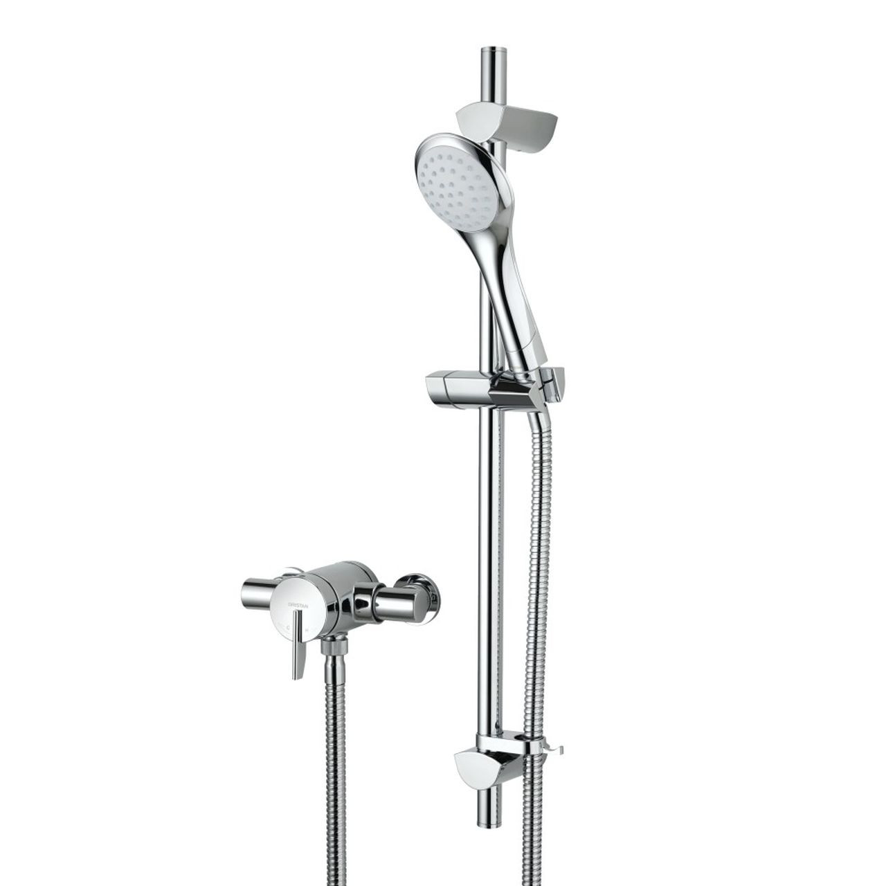 Bristan Sonique 2 Chrome Thermostatic Surface Mounted Shower Valve with Adjustable Riser - SOQ2-SHXAR-C