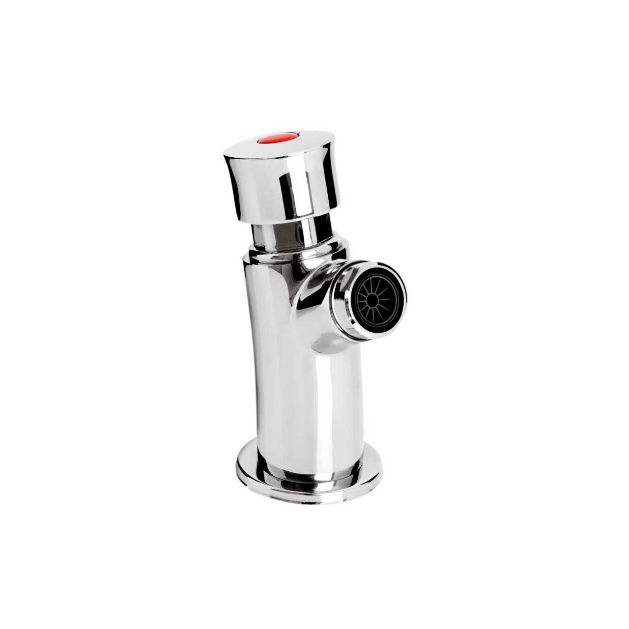 Bristan Timed Flow Chrome Soft Touch Flow Regulated Single Wall Mounted Basin Tap with Hot and Cold Indices - Z2-BIB-C