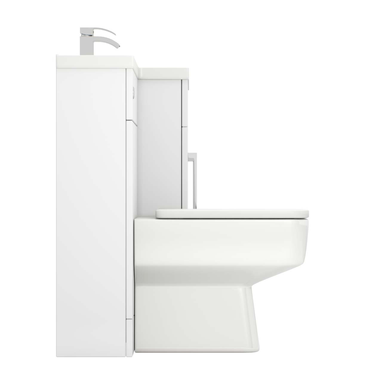 Capri Right Hand 1100mm White Gloss Vanity Unit Toilet Suite