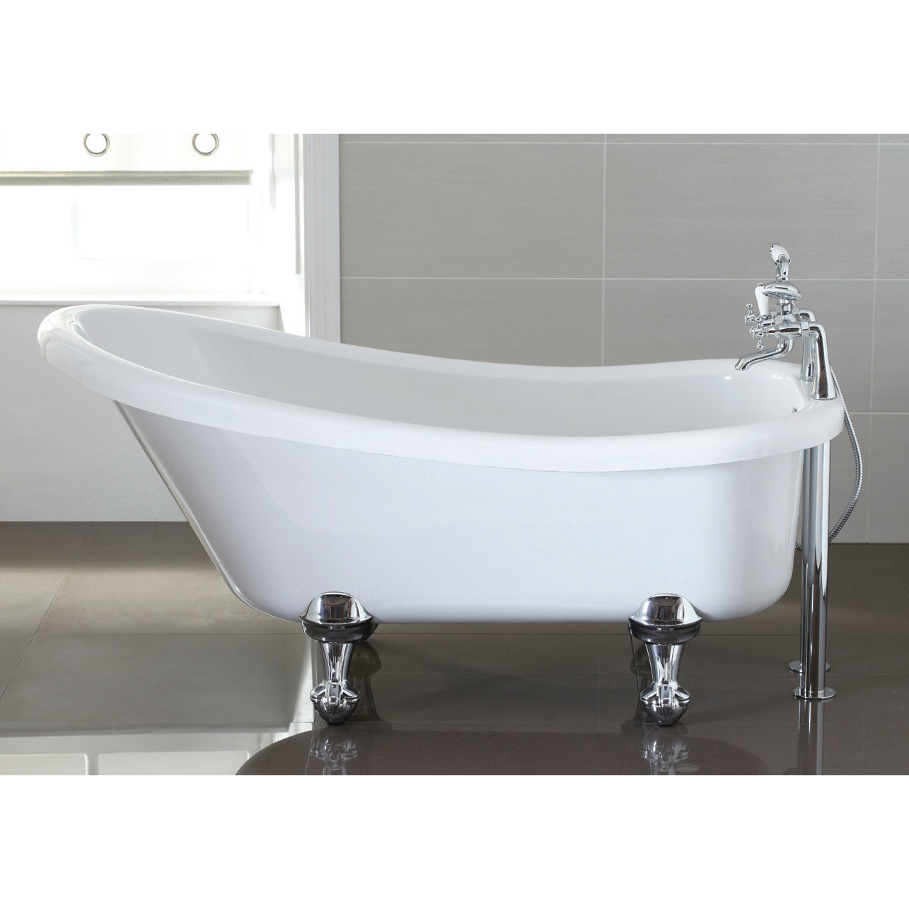Eldwick Single Ended Slipper Roll Top Bath with Traditional Feet