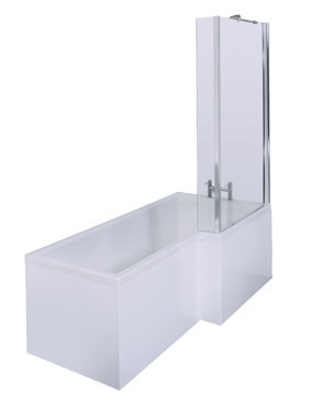 L Shape Shower Bath 1700 mm with Towel Rail Shower Screen and Panel Right Hand