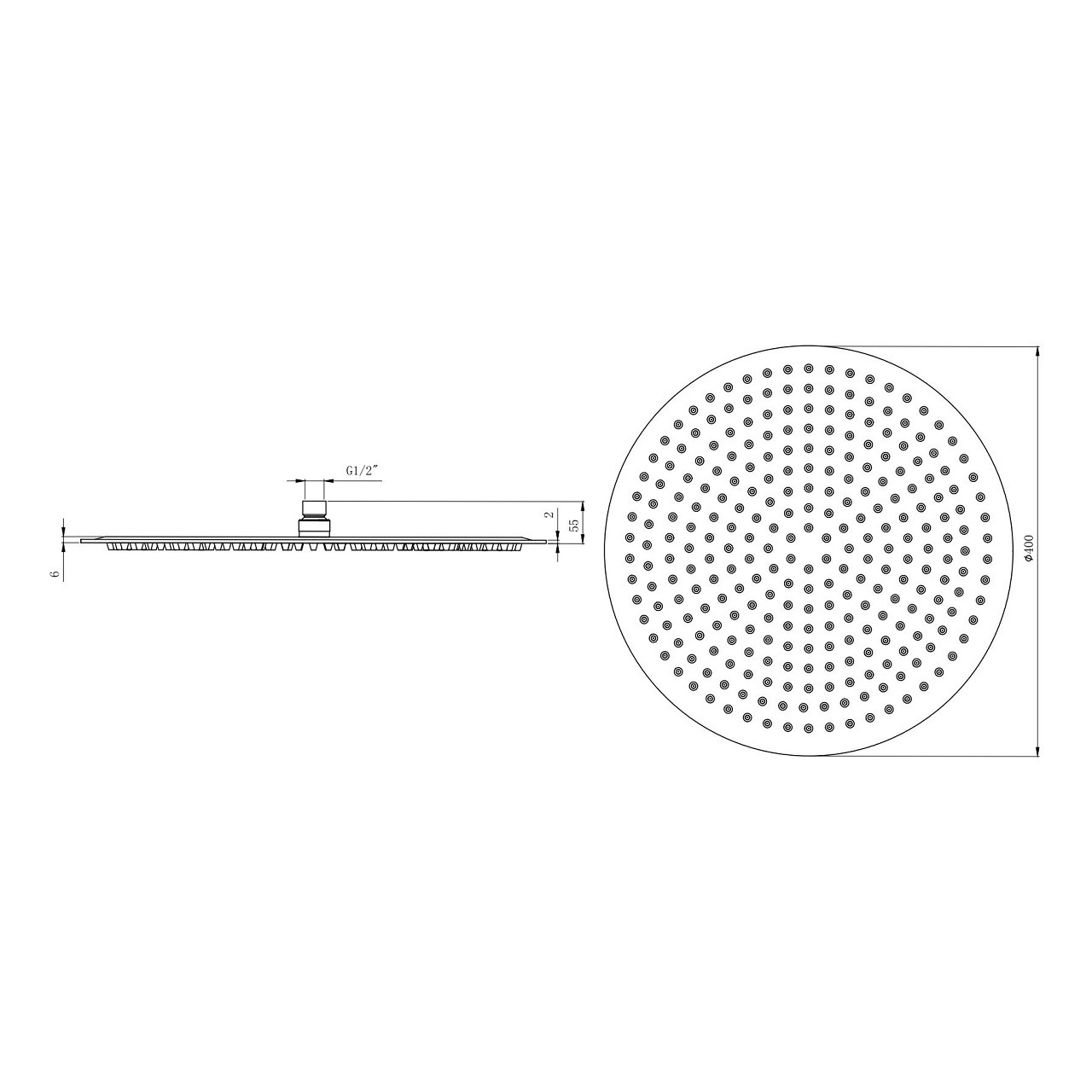 Chrome 400mm Diameter Thin Round Shower Head
