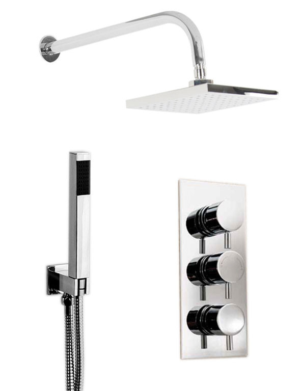 Circo Triple Thermostatic Valve With Square Shower Head & Square Shower Outlet