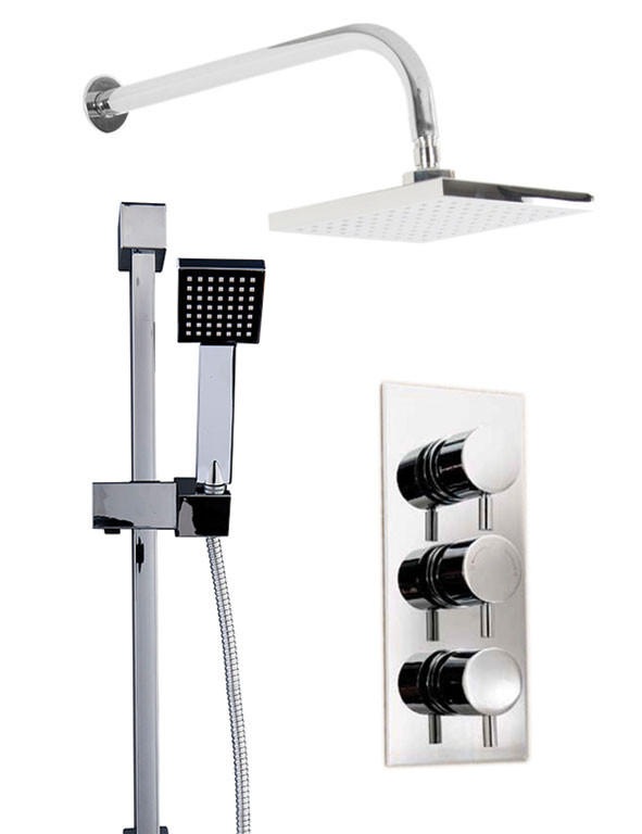 Circo Triple Thermostatic Valve With Square Shower Head & Thames Slide Rail Kit