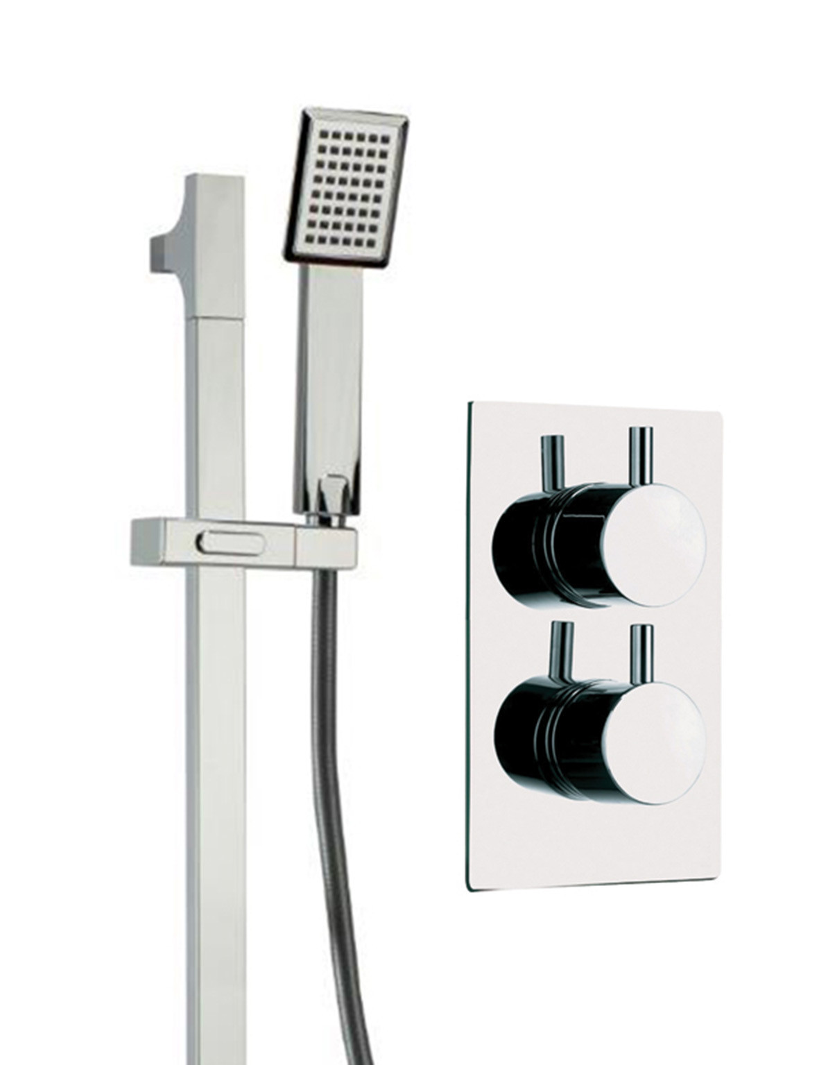 Circo Twin Thermostatic Valve With Severn Slide Rail Kit & Square Shower Elbow