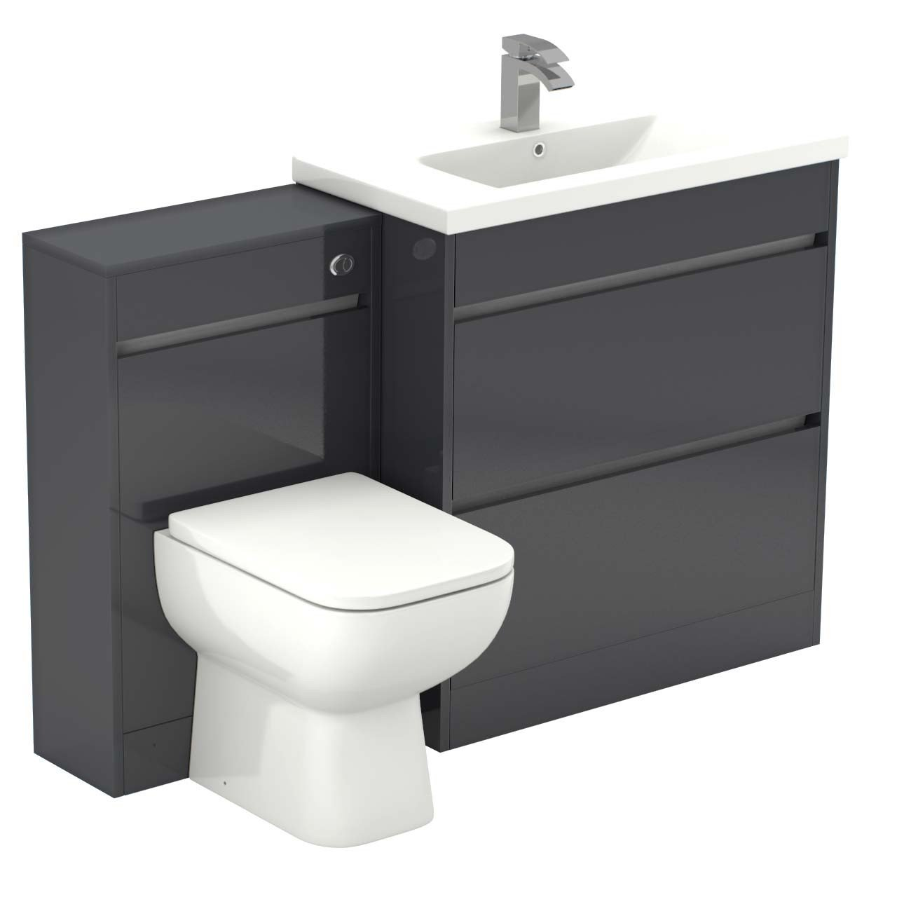 reputable site ff3d3 43790 City Grey Gloss 1300mm 2 Drawer Vanity Unit Toilet Suite