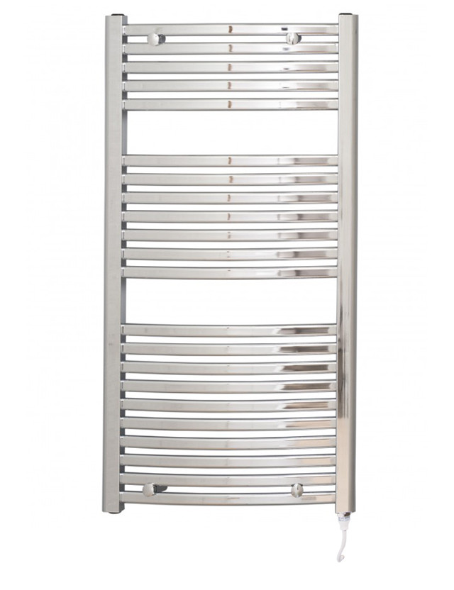 Columbus 1200 x 600 Curved Chrome Electric Towel Rail