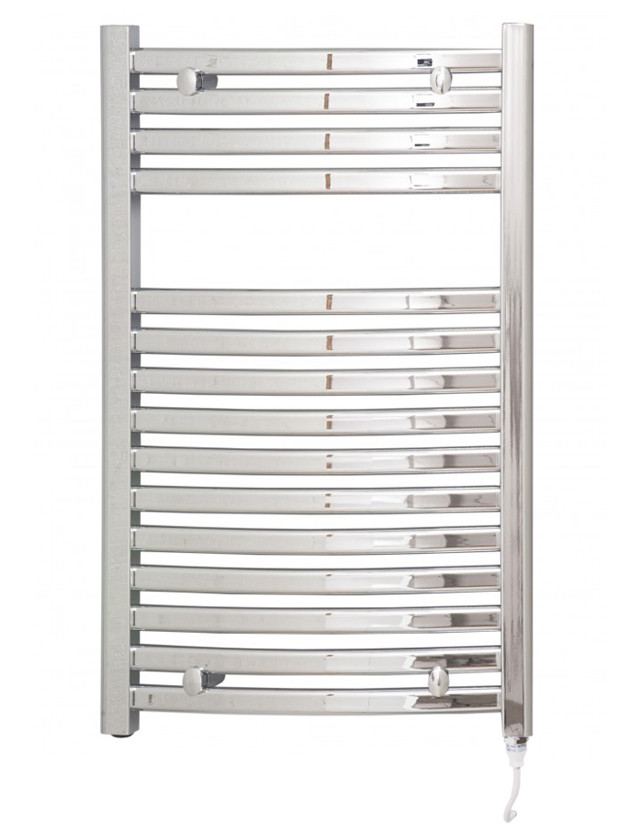 Columbus 800 x 500 Curved Chrome Electric Towel Rail