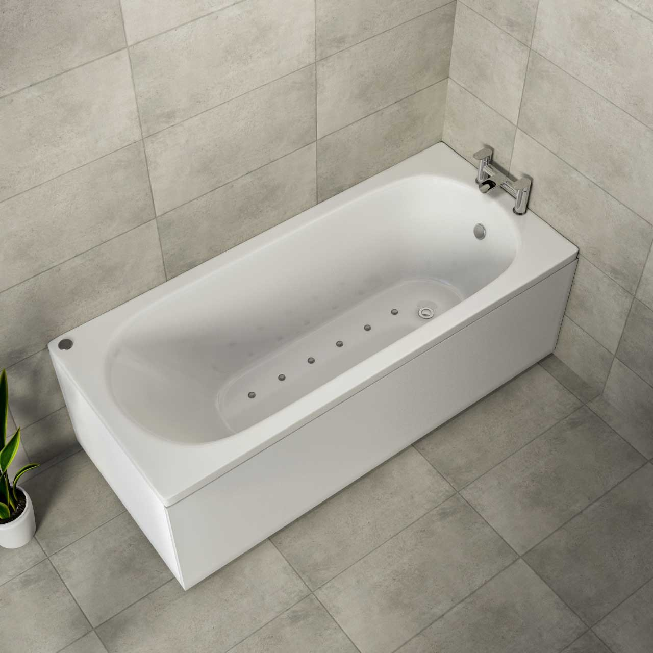 Compact End Tap 12 Jet Chrome Easifit Spa Whirlpool Bath 1600x700mm