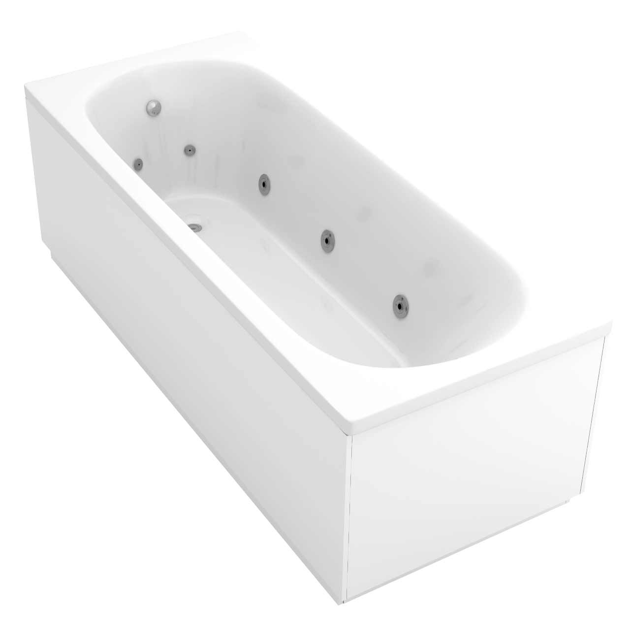 Compact End Tap 12 Jet Chrome Flat Jet Whirlpool Bath 1700x700