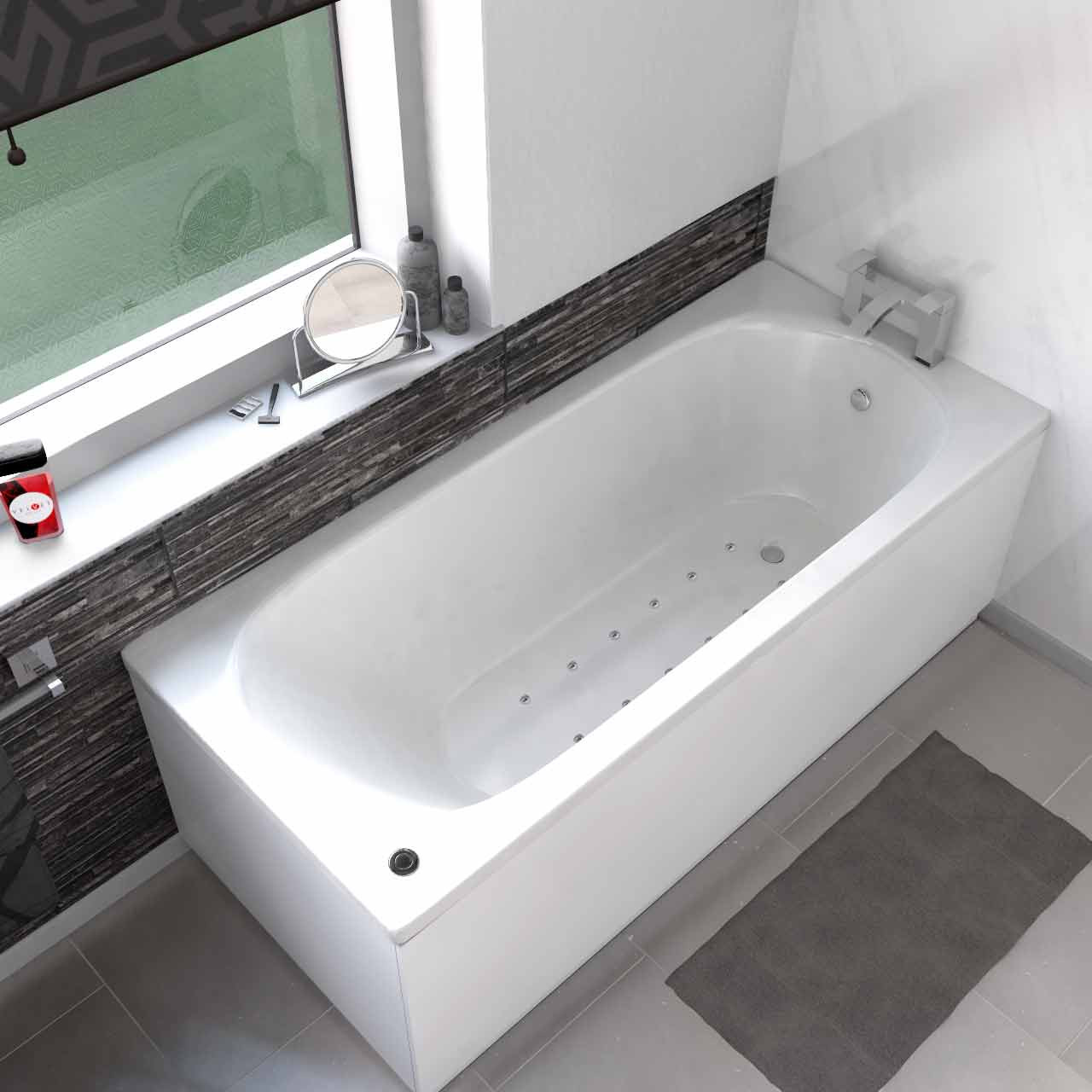 Compact End Tap 12 Jet Easifit Spa Whirlpool Bath 1700x700