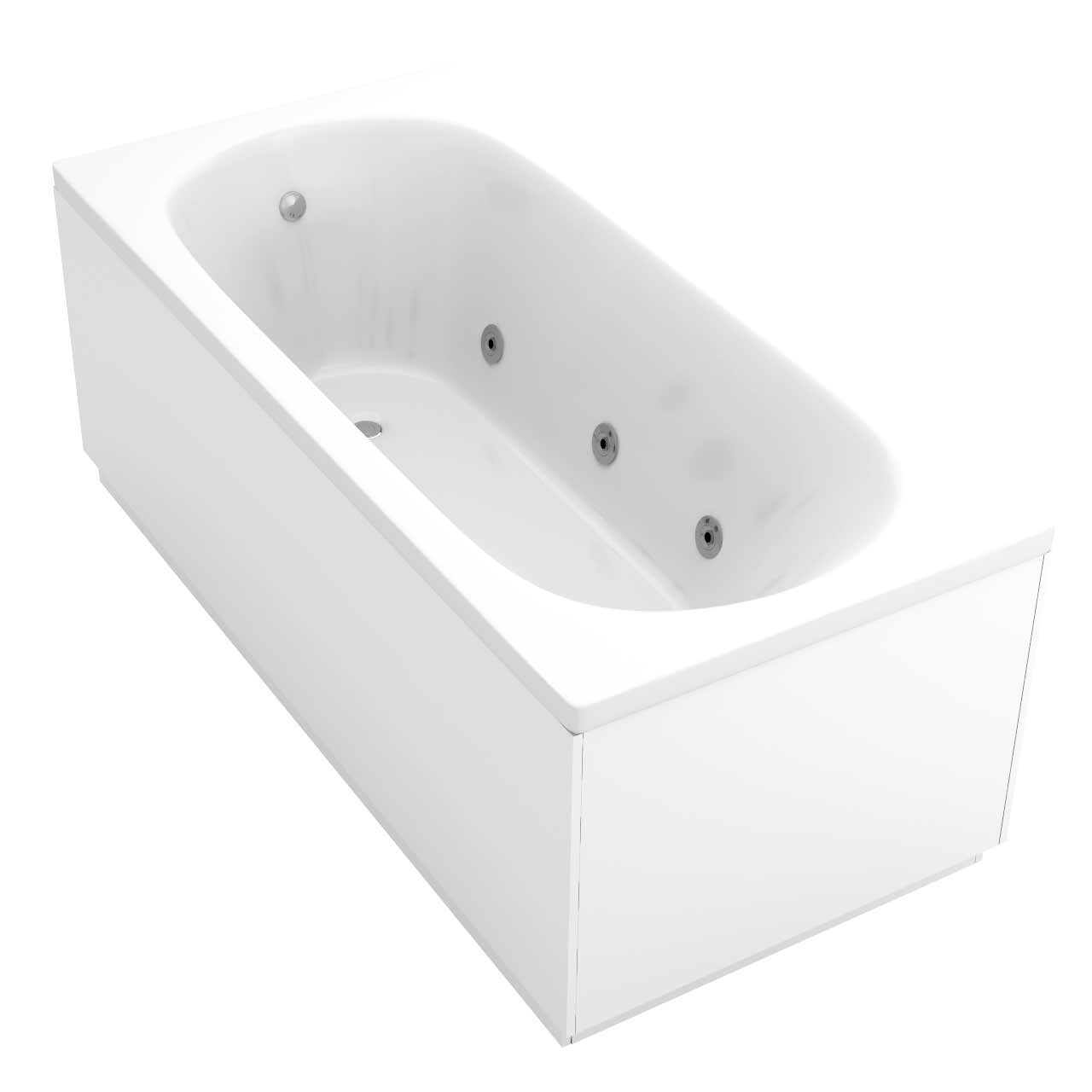 Compact End Tap 6 Jet Chrome Flat Jet Whirlpool Bath 1500x700