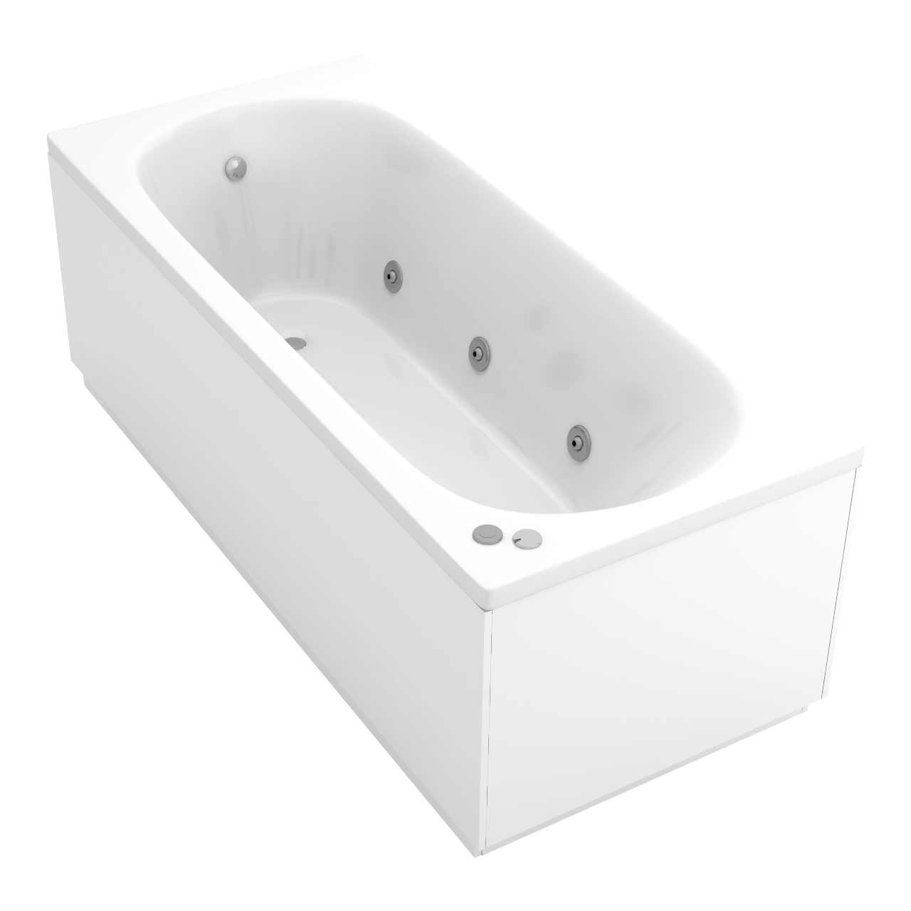 Compact End Tap 6 Jet Chrome V-Tec Whirlpool Bath 1600x700