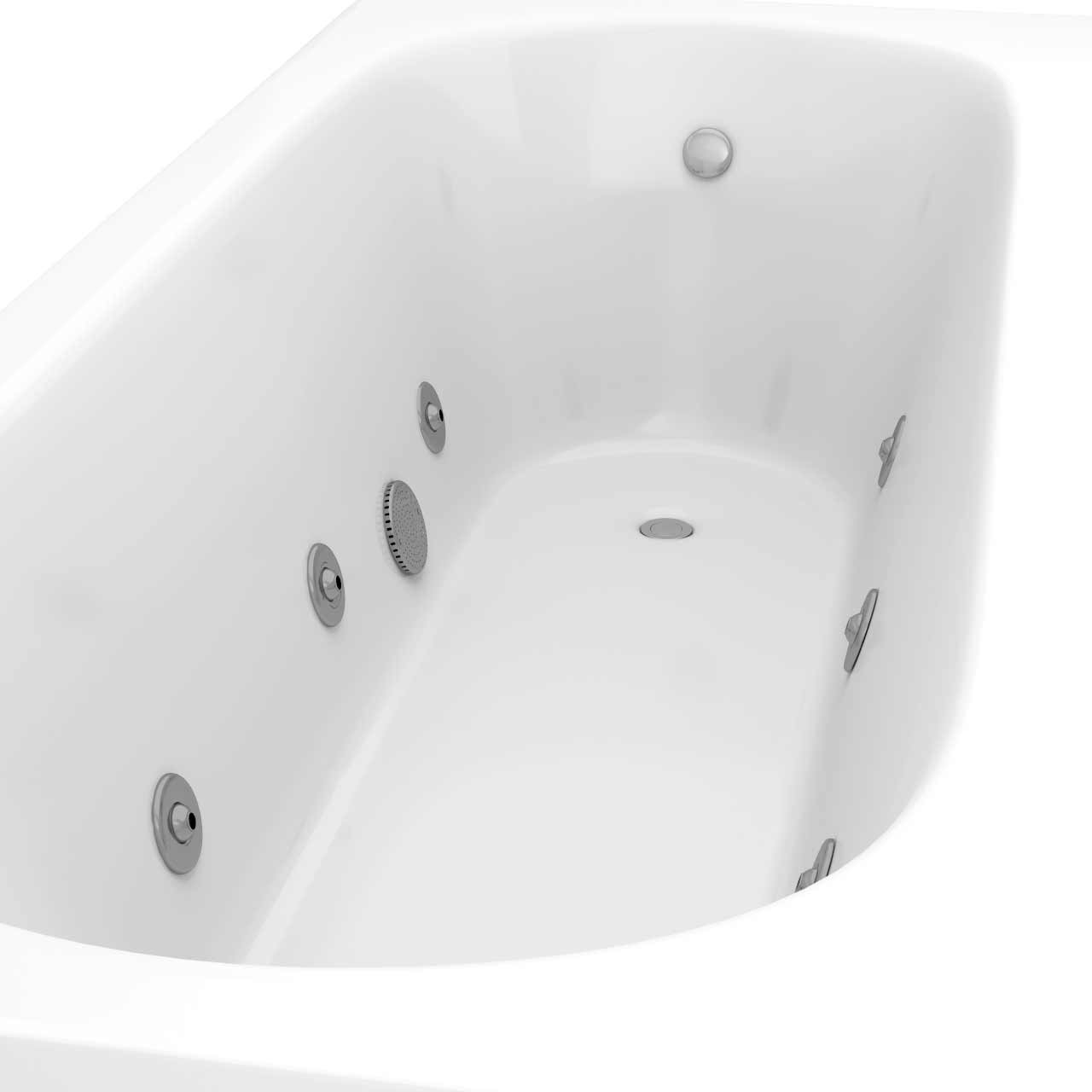 Compact End Tap 6 Jet Chrome V-Tec Whirlpool Bath 1700x700