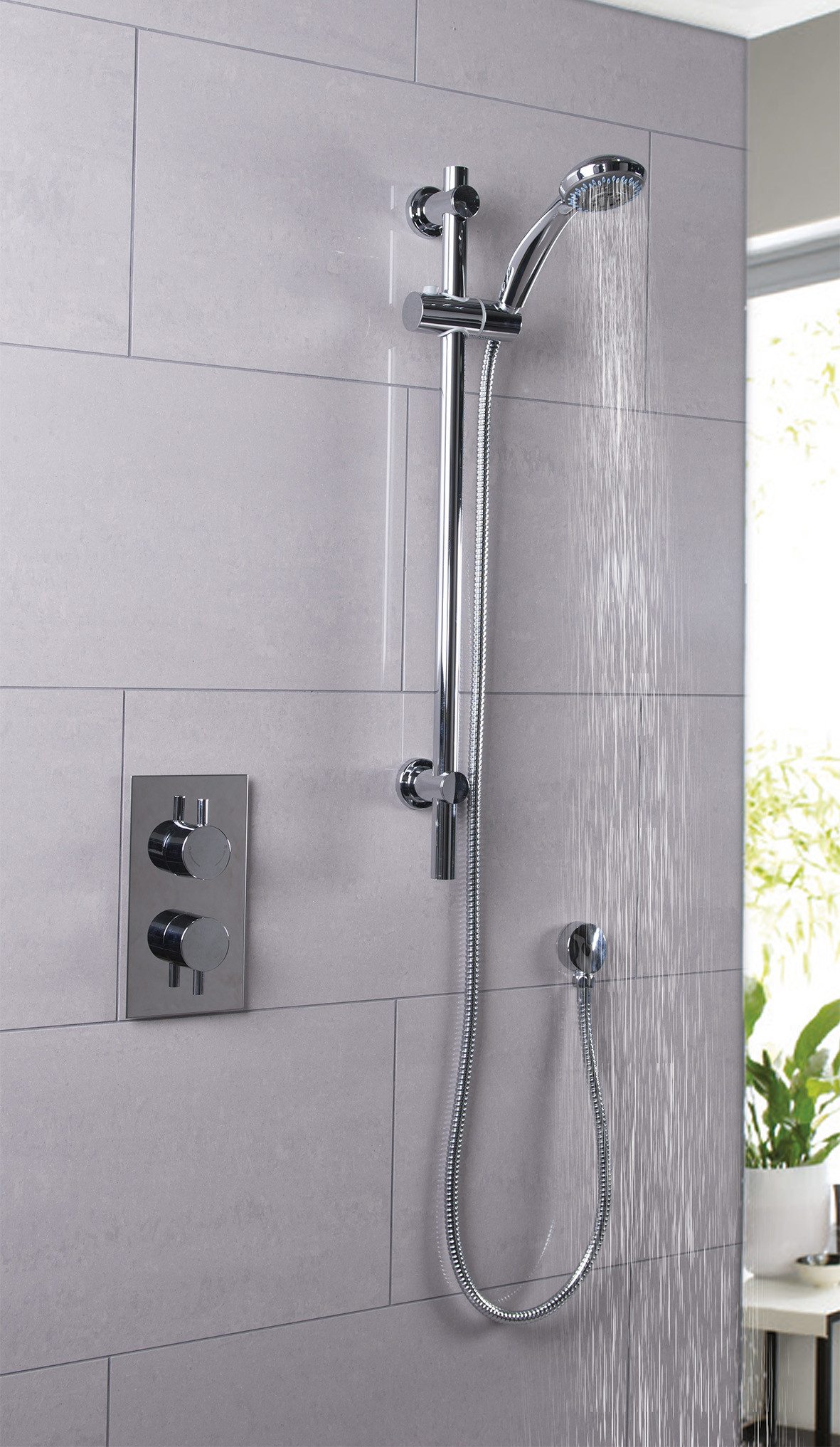 Circo Twin Thermostatic Valve With Clyde Slide Rail Kit & Round Shower Elbow
