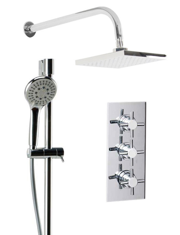 Cross Triple Thermostatic Valve With Square Shower Head & Avon Slide Rail Kit