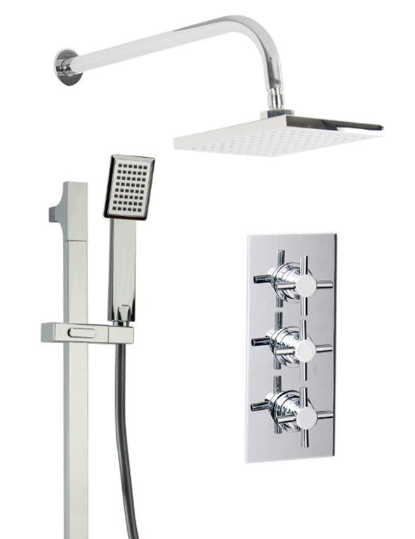 Cross Triple Thermostatic Valve With Square Shower Head & Severn Slide Rail Kit