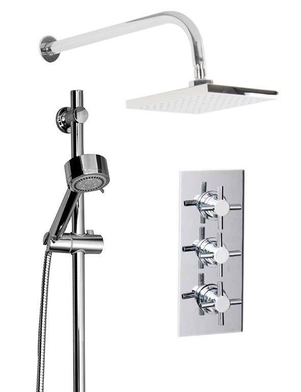 Cross Triple Thermostatic Valve With Square Shower Head & Tyne Slide Rail Kit