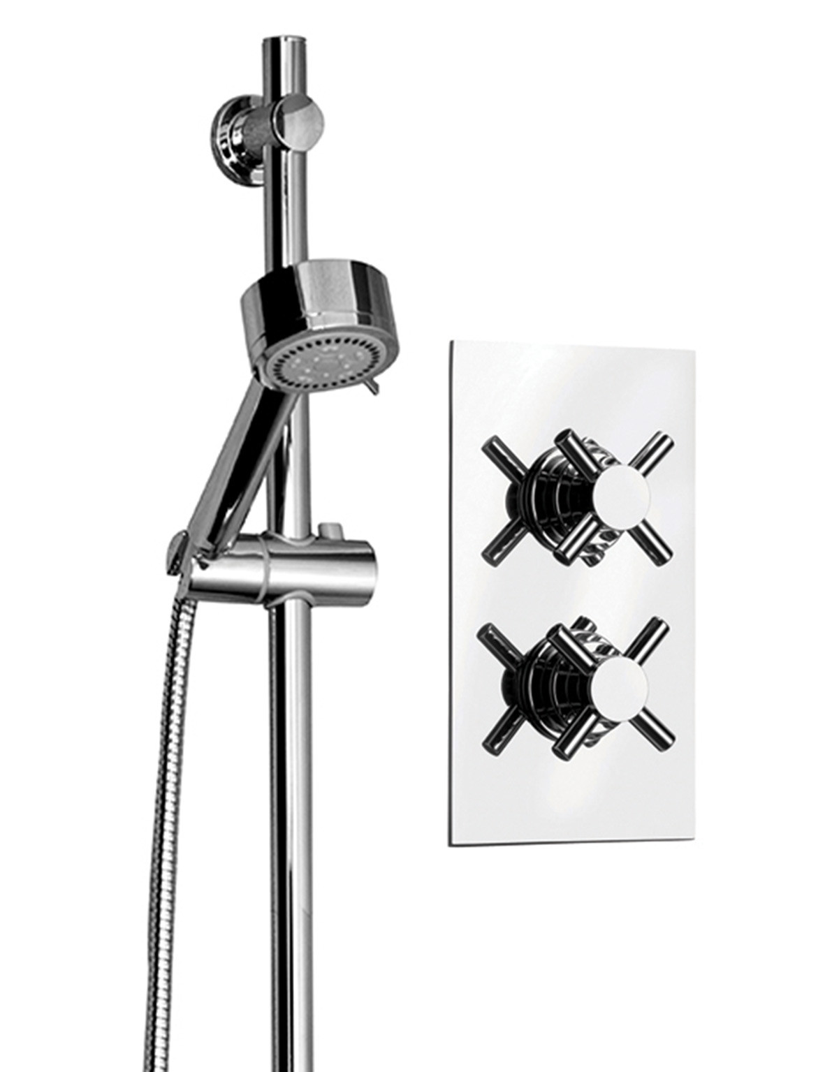 Cross Twin Thermostatic Valve With Tyne Slide Rail Kit & Round Shower Elbow