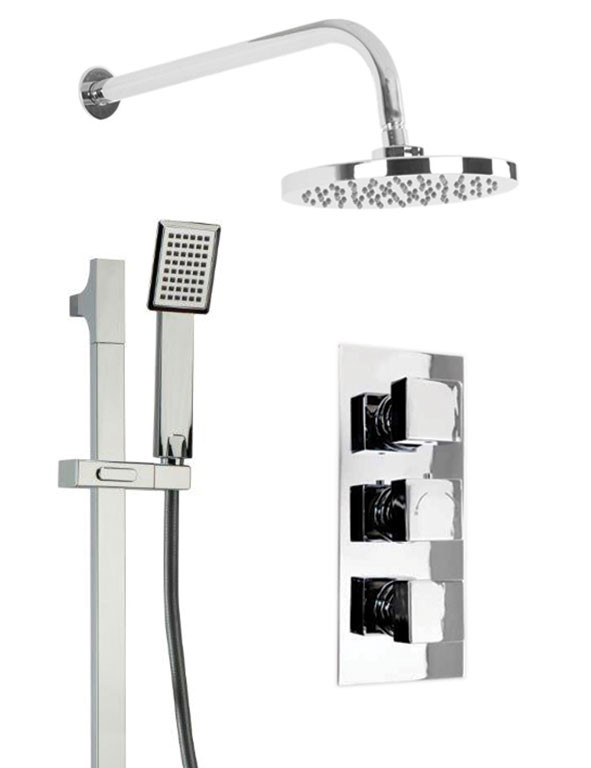 Cubix Triple Thermostatic Valve With Round Shower Head & Severn Slide Rail Kit