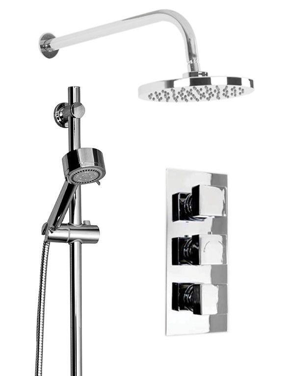 Cubix Triple Thermostatic Valve With Round Shower Head & Tyne Slide Rail Kit