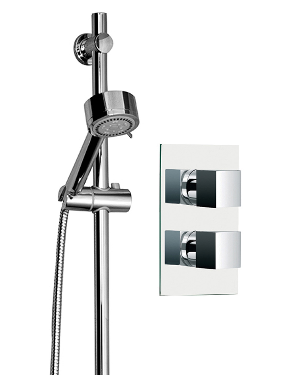 Cubix Twin Thermostatic Valve With Tyne Slide Rail Kit & Round Shower Elbow