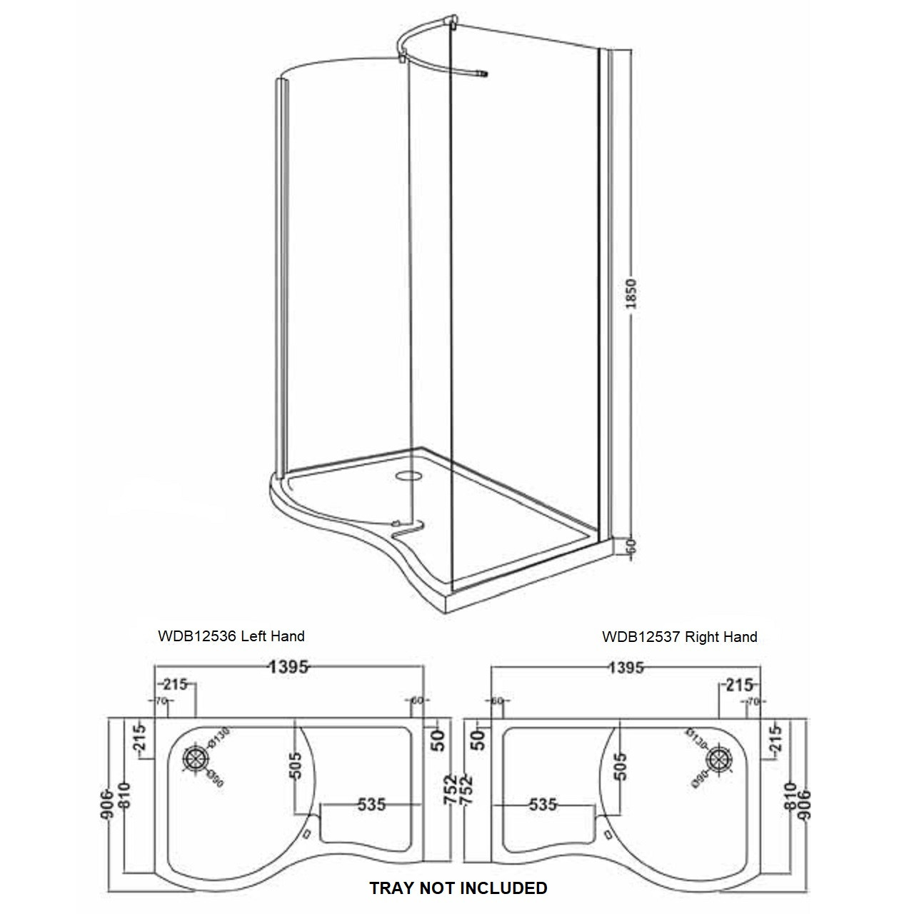Desire 1395mm x 906mm Curved Walk In Shower Enclosure