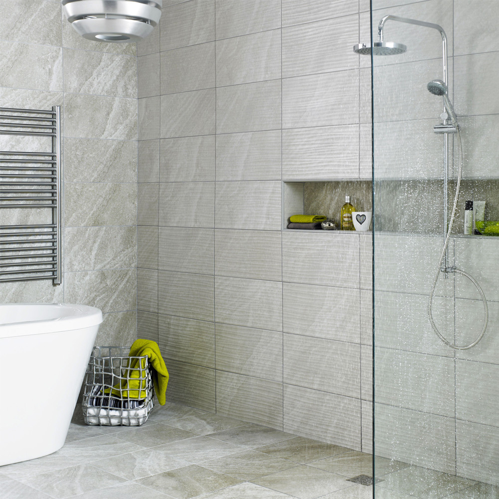 BCT High Definition Ditto Light Grey 24.8cm x 49.8cm Ceramic Wall Tile - BCT20455