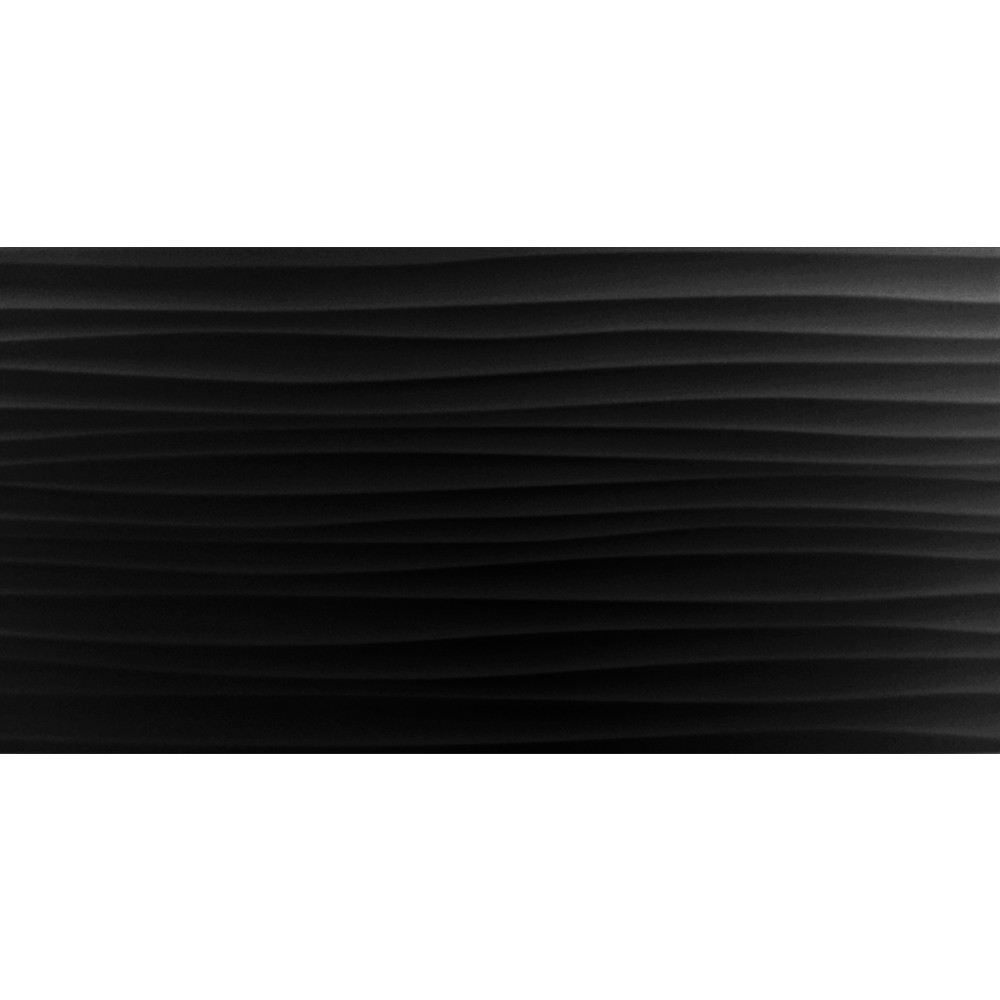 BCT Form Wave Black Gloss 24.8cm x 49.8cm Ceramic Wall Tile - BCT18758