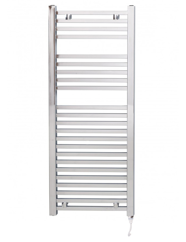 Galileo 1200 x 490 Square Chrome Electric Towel Rail