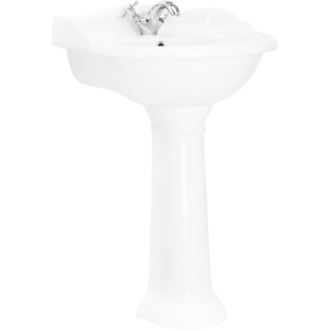 Grosvenor 600mm Basin with 1 Tap Hole and Full Pedestal