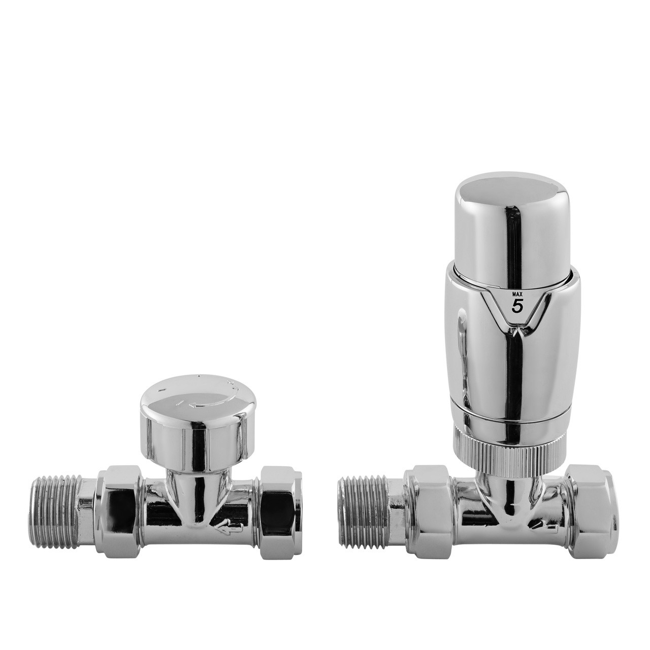 Premier Chrome Luxury Straight Thermostatic Radiator Valves Pack - HT316