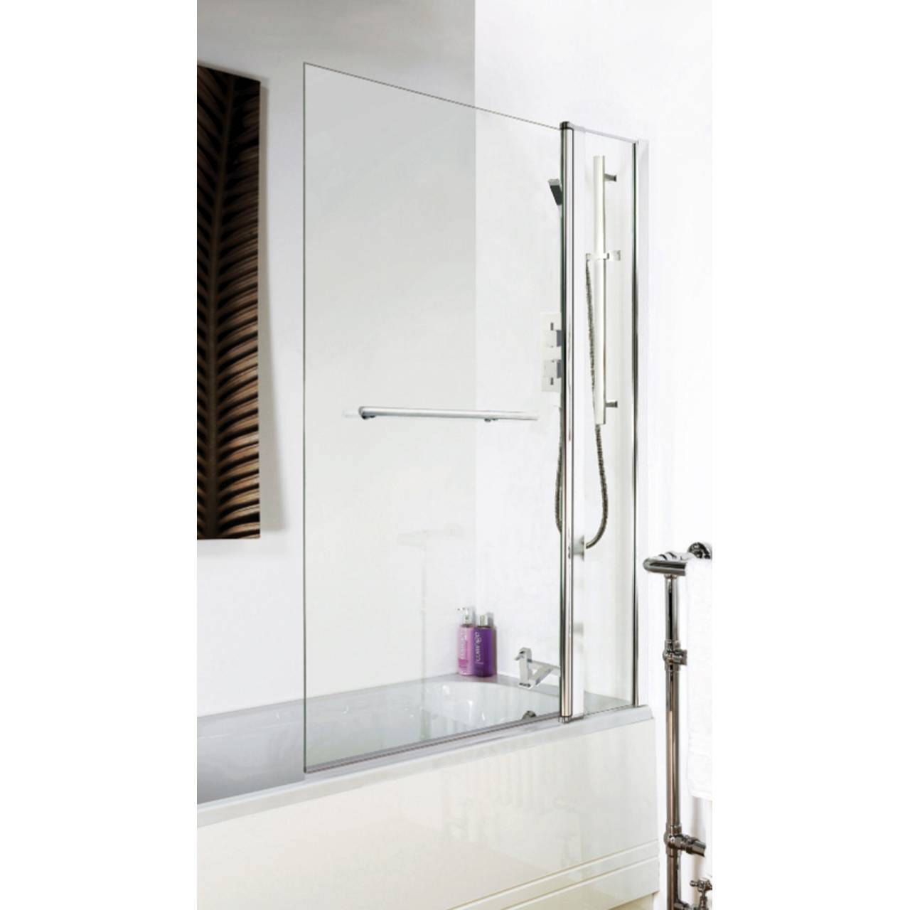 Hudson Reed 1000mm Square 6mm Bath Screen with Fixed Panel and Rail - NSSQR2