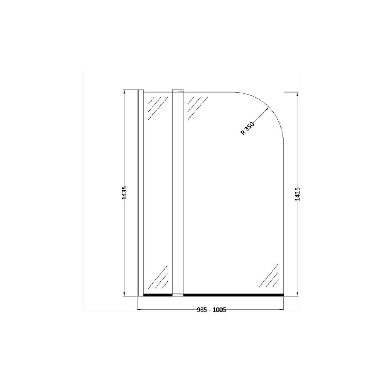 Hudson Reed 1000mm Straight Arched 6mm Bath Screen with Fixed Panel and Rail - NSSR2