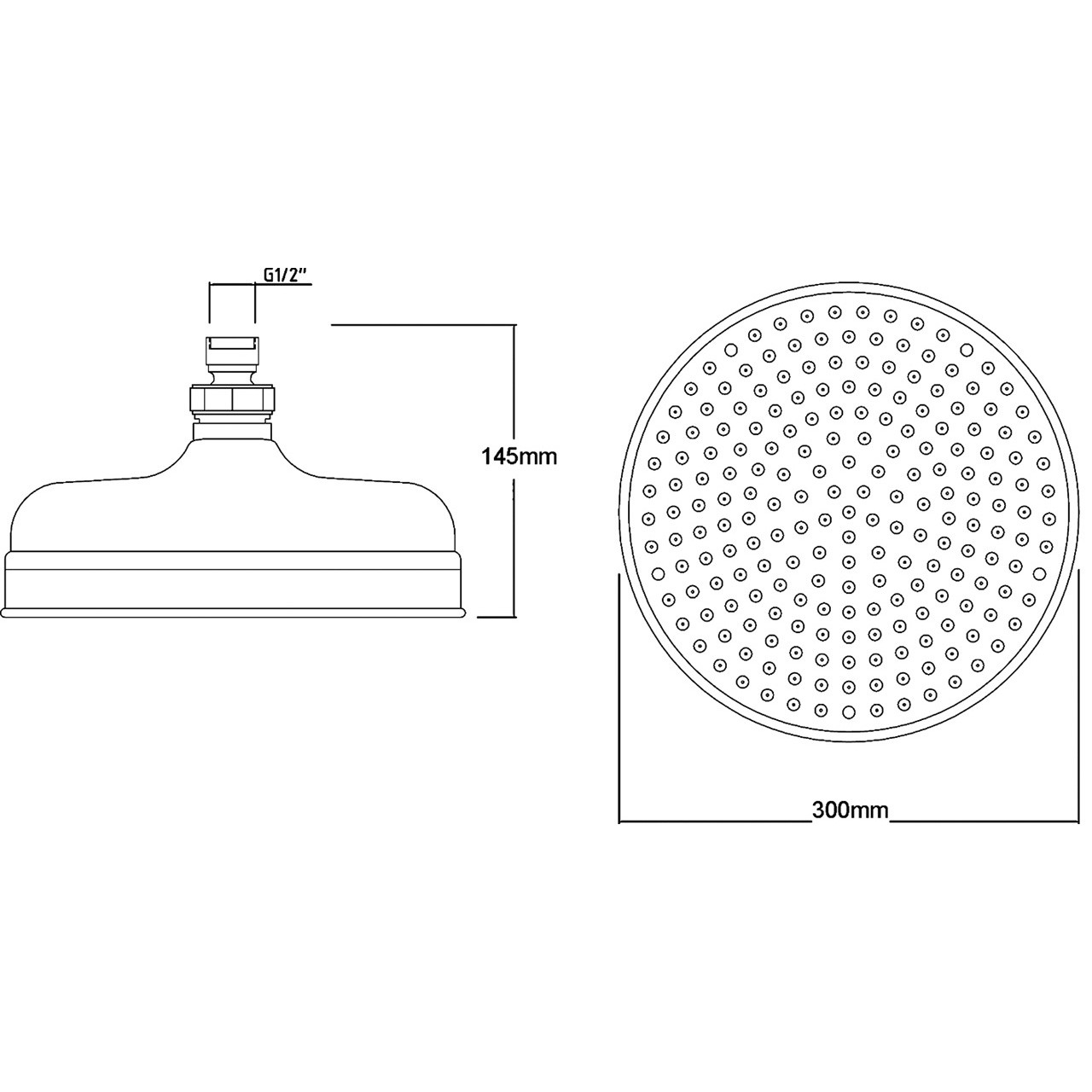 "Hudson Reed 12"" Apron Fixed Shower Head 300mm Diameter - HEAD16"