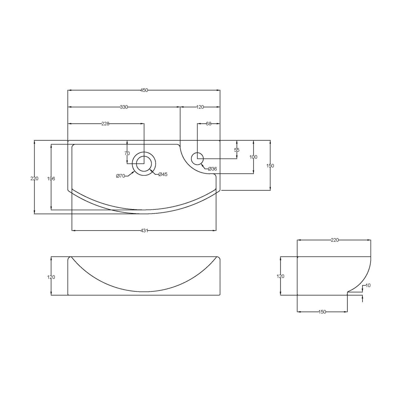 Hudson Reed 450mm x 220mm x 120mm Counter Top Basin with Left Hand Single Tap Hole - NBV160