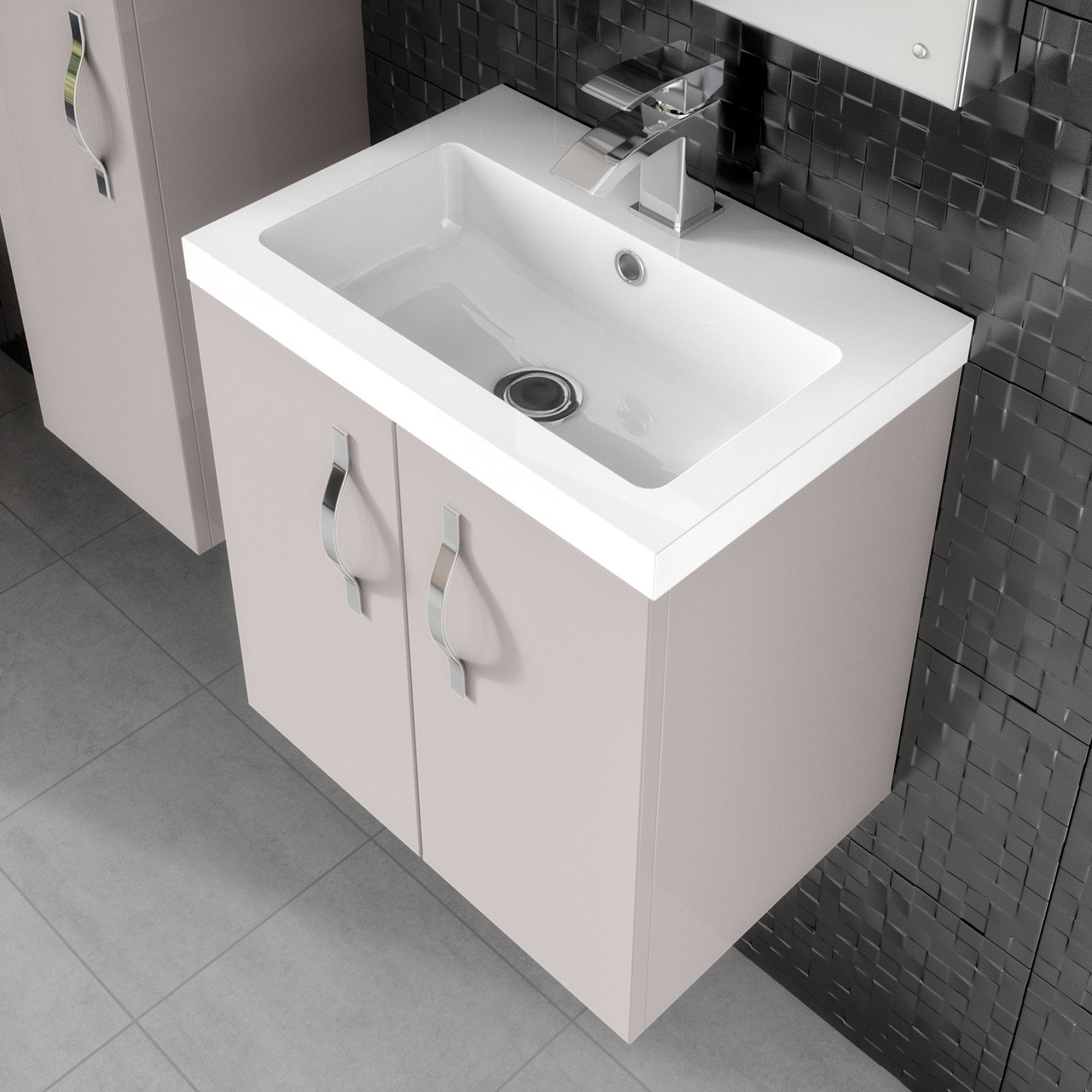 Hudson reed bathroom cabinets - Hudson Reed Apollo Cashmere Wall Hung 600mm Cabinet Basin Fma736 Pmb313