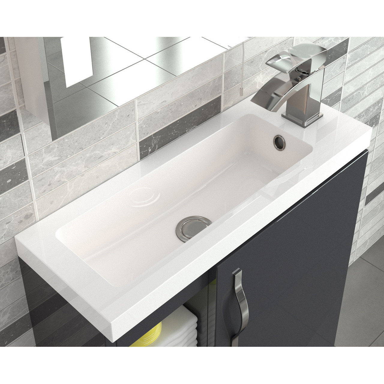 Hudson Reed Apollo Compact Grey Gloss Wall Hung 600mm Cabinet & Basin - FMA436C & PMB303