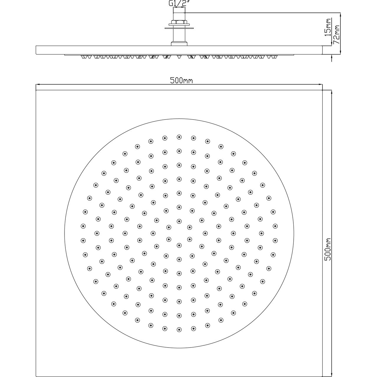 Hudson reed ceiling tile shower head 500mm head82 dailygadgetfo Choice Image
