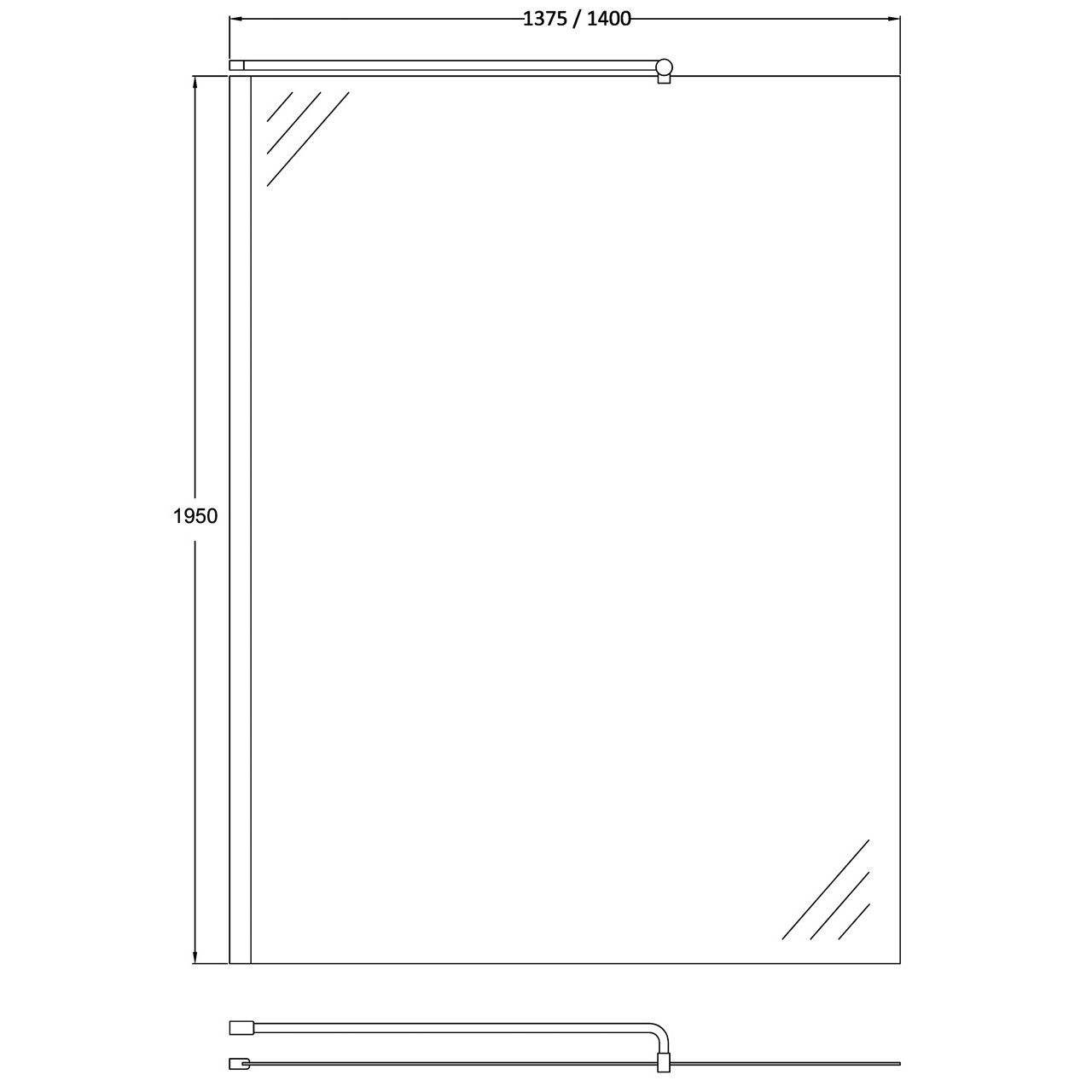 Hudson Reed Chrome Wetroom Screen 1400mm x 1950mm - WRSB1400