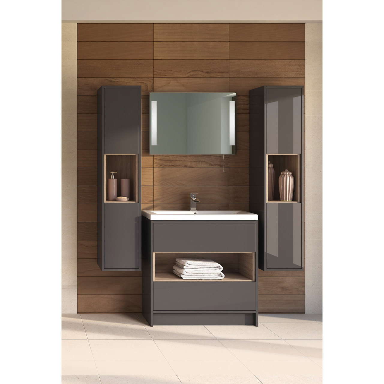 Hudson Reed Coast Grey Gloss Floor Standing 600mm Cabinet & 18mm profile Basin - FMC876 & NVM003