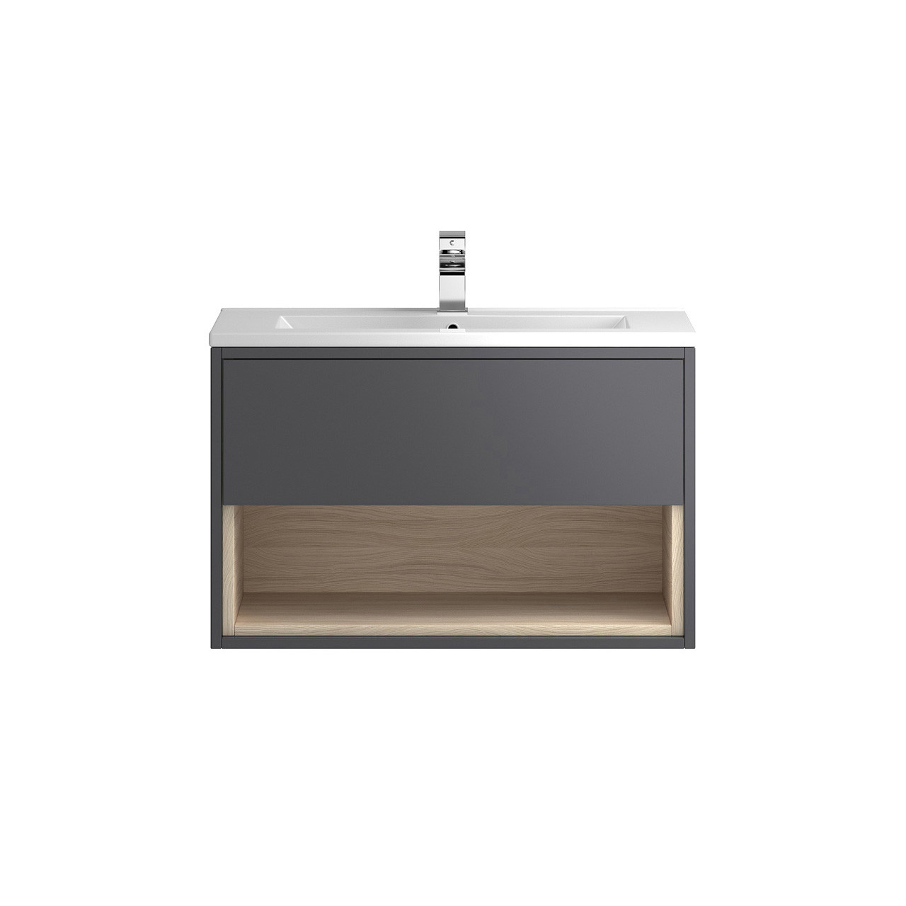Hudson Reed Coast Grey Gloss Wall Hung 800mm Cabinet & 18mm profile Basin - FMC888 & NVM005