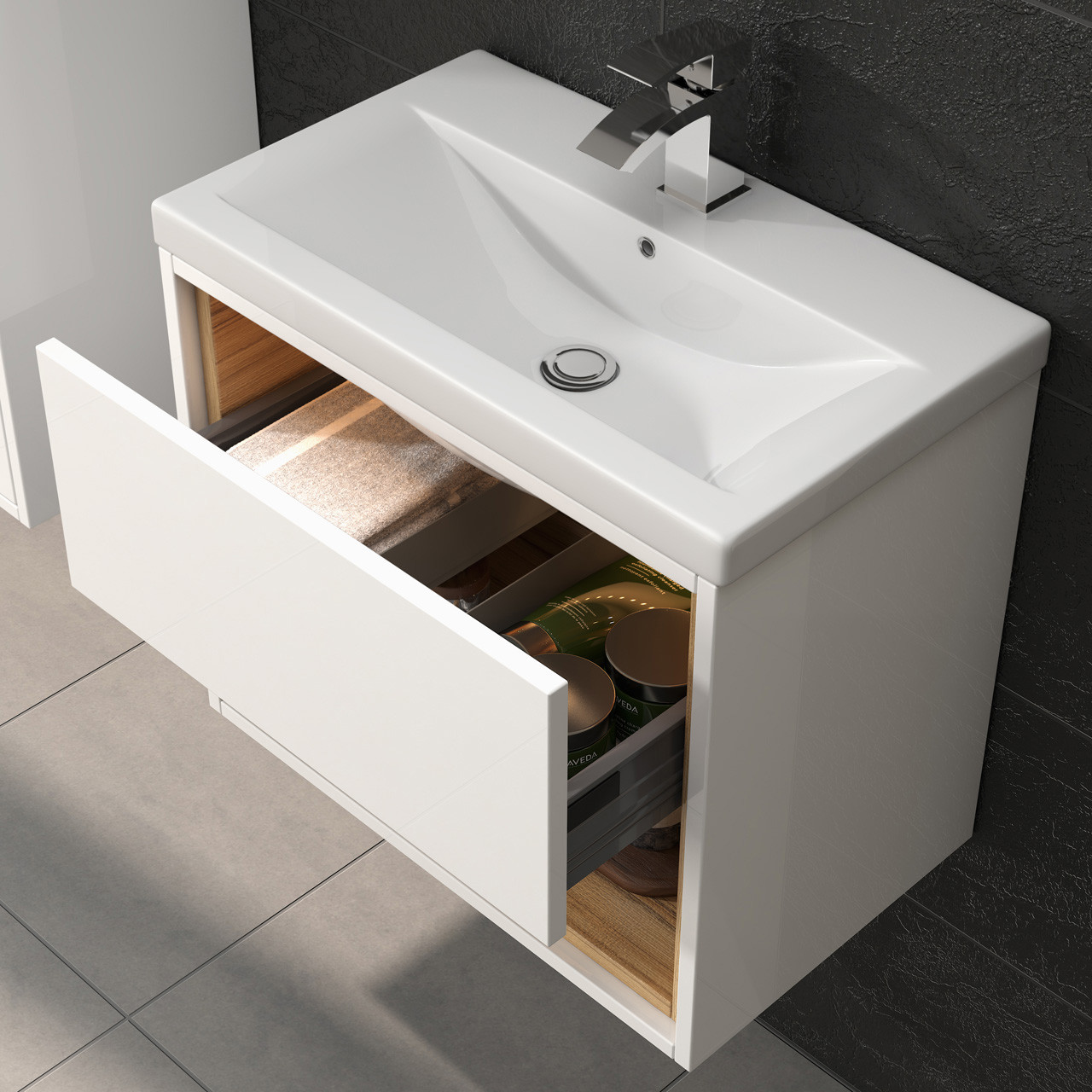 Hudson reed bathroom cabinets - Hudson Reed Coast White Gloss Wall Hung 500mm Cabinet 40mm Profile Basin Fmc984 Nvm012