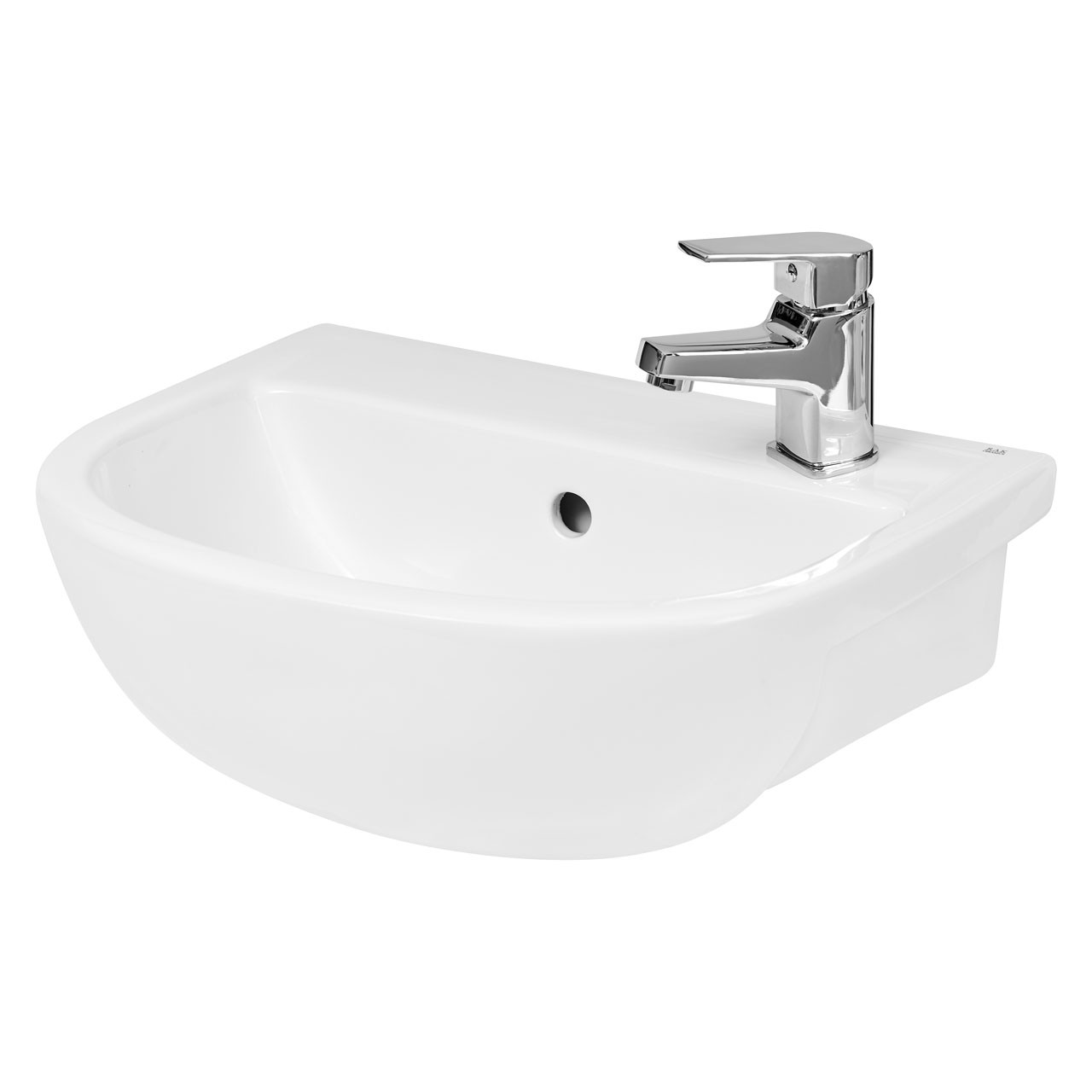 Hudson Reed Curved Compact Semi-Recessed 400mm Basin with 1 Tap Hole - SRB002