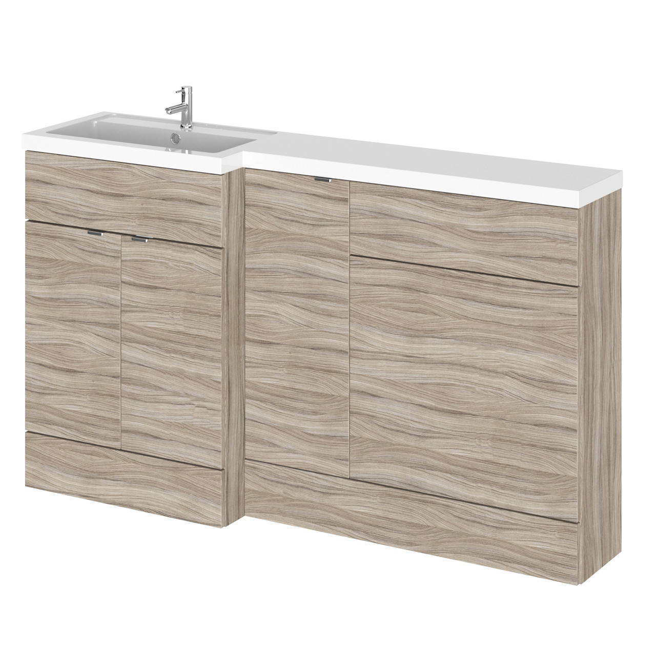 Hudson Reed Driftwood 1500mm Full Depth Combination Vanity, WC and Storage Unit with Left Hand Basin - CBI213